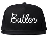 Butler New Jersey NJ Script Mens Snapback Hat Black