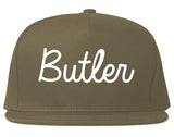 Butler New Jersey NJ Script Mens Snapback Hat Grey