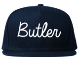 Butler New Jersey NJ Script Mens Snapback Hat Navy Blue
