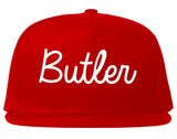 Butler New Jersey NJ Script Mens Snapback Hat Red