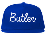 Butler New Jersey NJ Script Mens Snapback Hat Royal Blue