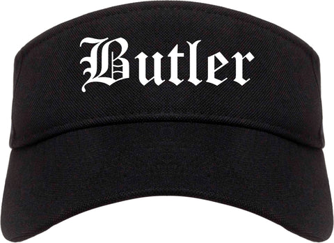 Butler New Jersey NJ Old English Mens Visor Cap Hat Black