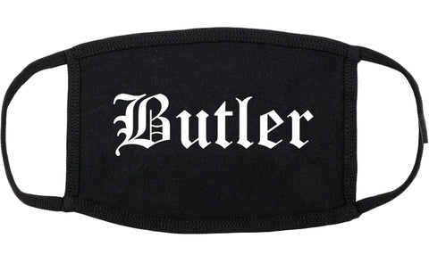 Butler Pennsylvania PA Old English Cotton Face Mask Black