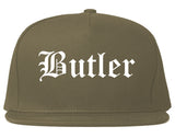 Butler Pennsylvania PA Old English Mens Snapback Hat Grey