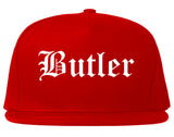 Butler Pennsylvania PA Old English Mens Snapback Hat Red