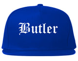 Butler Pennsylvania PA Old English Mens Snapback Hat Royal Blue