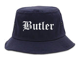 Butler Pennsylvania PA Old English Mens Bucket Hat Navy Blue