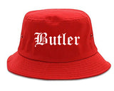 Butler Pennsylvania PA Old English Mens Bucket Hat Red