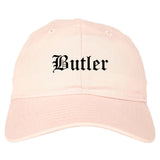 Butler Pennsylvania PA Old English Mens Dad Hat Baseball Cap Pink