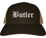 Butler Pennsylvania PA Old English Mens Trucker Hat Cap Brown