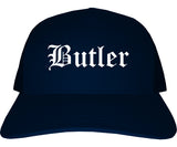 Butler Pennsylvania PA Old English Mens Trucker Hat Cap Navy Blue