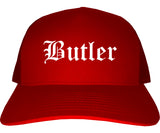Butler Pennsylvania PA Old English Mens Trucker Hat Cap Red