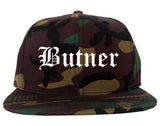 Butner North Carolina NC Old English Mens Snapback Hat Army Camo