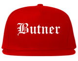 Butner North Carolina NC Old English Mens Snapback Hat Red