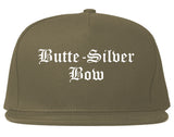 Butte Silver Bow Montana MT Old English Mens Snapback Hat Grey