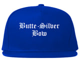 Butte Silver Bow Montana MT Old English Mens Snapback Hat Royal Blue