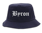 Byron Georgia GA Old English Mens Bucket Hat Navy Blue