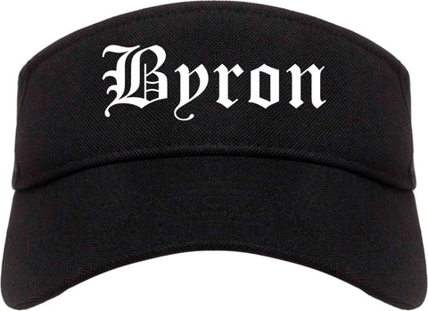 Byron Georgia GA Old English Mens Visor Cap Hat Black