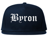 Byron Minnesota MN Old English Mens Snapback Hat Navy Blue