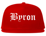 Byron Minnesota MN Old English Mens Snapback Hat Red