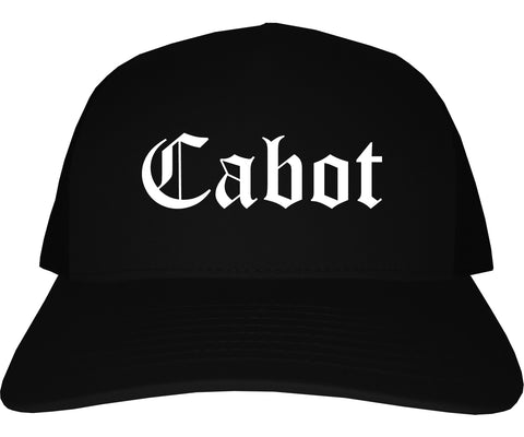 Cabot Arkansas AR Old English Mens Trucker Hat Cap Black