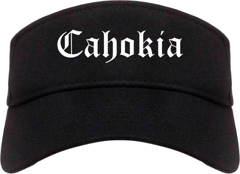Cahokia Illinois IL Old English Mens Visor Cap Hat Black