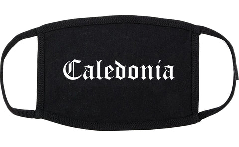 Caledonia Wisconsin WI Old English Cotton Face Mask Black