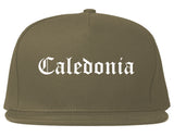 Caledonia Wisconsin WI Old English Mens Snapback Hat Grey