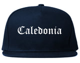 Caledonia Wisconsin WI Old English Mens Snapback Hat Navy Blue