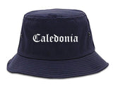 Caledonia Wisconsin WI Old English Mens Bucket Hat Navy Blue