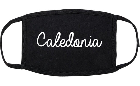 Caledonia Wisconsin WI Script Cotton Face Mask Black