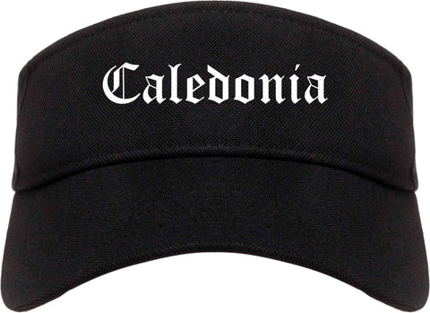 Caledonia Wisconsin WI Old English Mens Visor Cap Hat Black