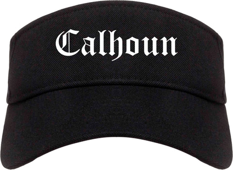 Calhoun Georgia GA Old English Mens Visor Cap Hat Black