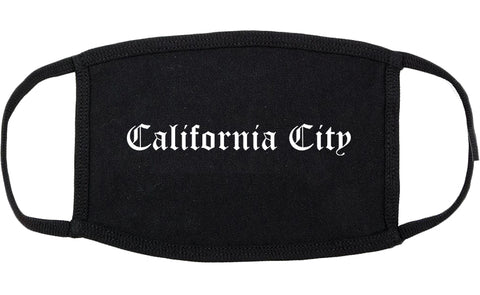 California City California CA Old English Cotton Face Mask Black