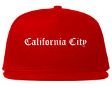 California City California CA Old English Mens Snapback Hat Red