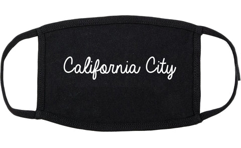 California City California CA Script Cotton Face Mask Black