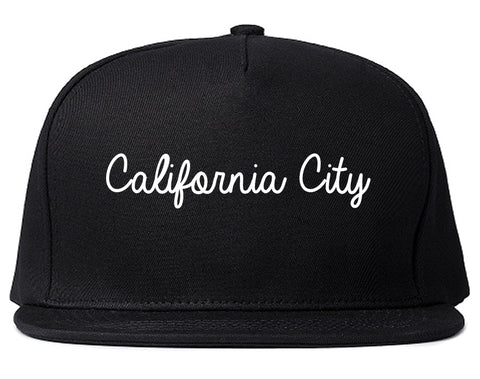 California City California CA Script Mens Snapback Hat Black