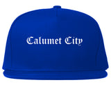 Calumet City Illinois IL Old English Mens Snapback Hat Royal Blue