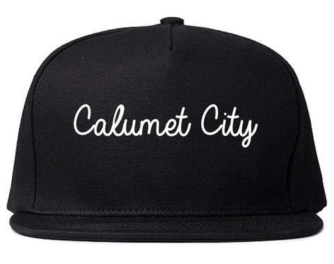 Calumet City Illinois IL Script Mens Snapback Hat Black
