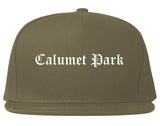 Calumet Park Illinois IL Old English Mens Snapback Hat Grey