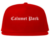 Calumet Park Illinois IL Old English Mens Snapback Hat Red
