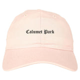 Calumet Park Illinois IL Old English Mens Dad Hat Baseball Cap Pink
