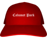 Calumet Park Illinois IL Old English Mens Trucker Hat Cap Red