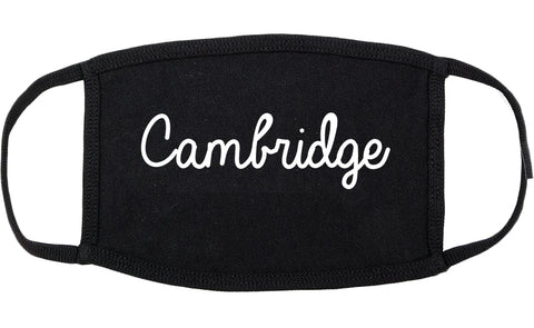 Cambridge Minnesota MN Script Cotton Face Mask Black