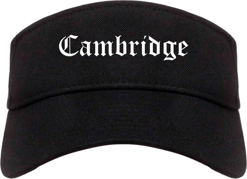 Cambridge Ohio OH Old English Mens Visor Cap Hat Black