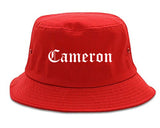 Cameron Texas TX Old English Mens Bucket Hat Red