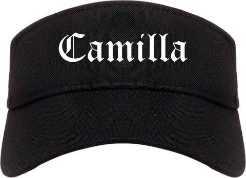 Camilla Georgia GA Old English Mens Visor Cap Hat Black