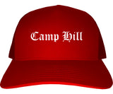 Camp Hill Pennsylvania PA Old English Mens Trucker Hat Cap Red