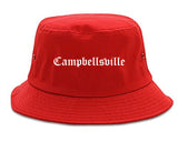 Campbellsville Kentucky KY Old English Mens Bucket Hat Red