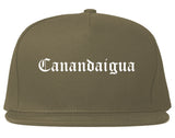 Canandaigua New York NY Old English Mens Snapback Hat Grey